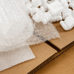 Packing materials, cardboard, bubble wrap